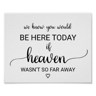 graphic about We Know You Would Be Here Today Free Printable named If Heaven Wasnt Thus Significantly Absent Wedding ceremony Memorial Poster