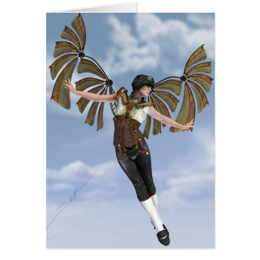 If I Could Fly Steampunk Notecard Card