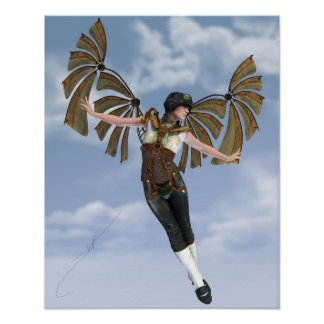 If I Could Fly Steampunk Poster