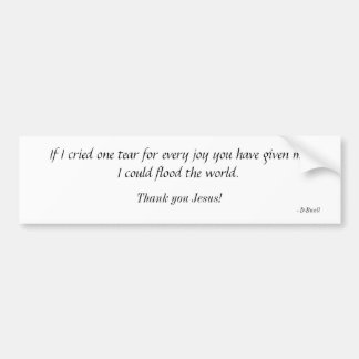 If I cried one tear for every joy you have give... Bumper Sticker