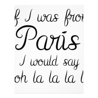 If I was from Paris Letterhead