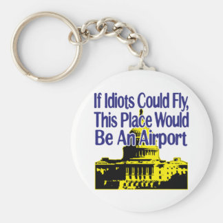 If Idiots Could Fly... Basic Round Button Keychain