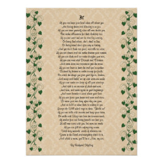 If inspirational poetry by Rudyard Kipling Poster