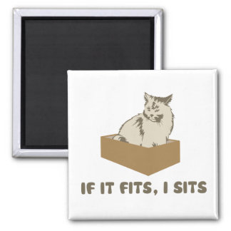If It Fits, I Sits Cat 2 Inch Square Magnet