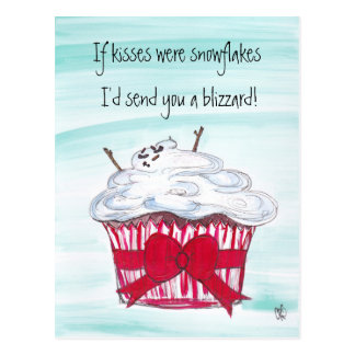 If kisses were snowflakes post card