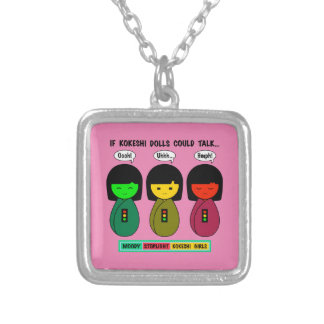 If Kokeshi Dolls Could Talk Silver Plated Necklace