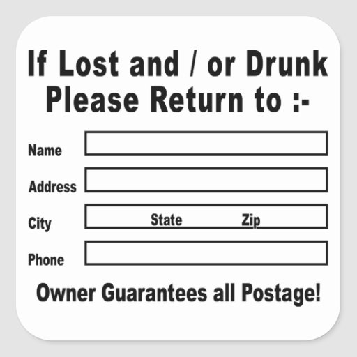 If Lost and / or Drunk Please Return to Square Sticker