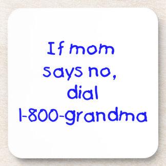 if mom says no...(blue) beverage coaster
