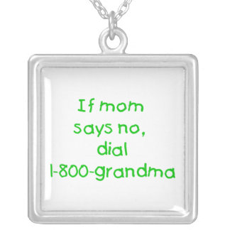 if mom says no...(green) square pendant necklace