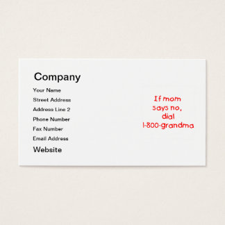 if mom says no...(red) business card