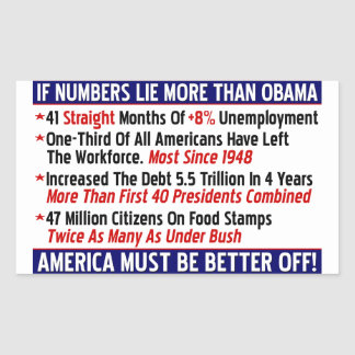 If Numbers Lie More Than Obama! Rectangular Sticker