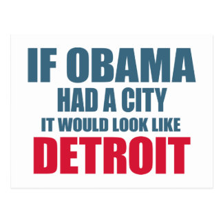 If Obama Had A City, It Would Look like Detroit Postcard