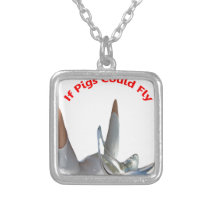 If Pigs Could Fly Silver Plated Necklace
