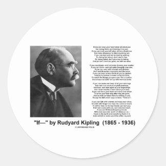 """If— "" Poem By Rudyard Kipling Classic Round Sticker"