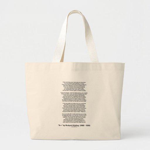 If Poem By Rudyard Kipling (Inspirational Poem) Bag