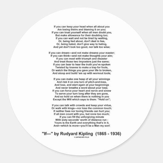 If Poem By Rudyard Kipling (Inspirational Poem) Classic Round Sticker