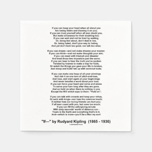 rudyard kipling essay poem if by rudyard kipling