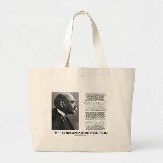 """""""If— """" Poem By Rudyard Kipling Large Tote Bag"""