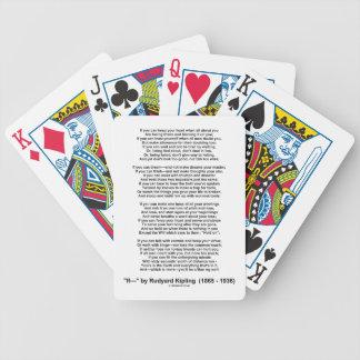 If- Poem by Rudyard Kipling (No Kipling Picture) Bicycle Playing Cards