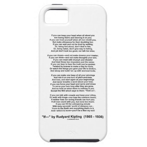 If- Poem by Rudyard Kipling (No Kipling Picture) iPhone 5 Case