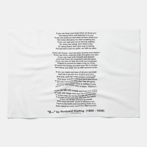 If- Poem by Rudyard Kipling (No Kipling Picture) Hand Towel