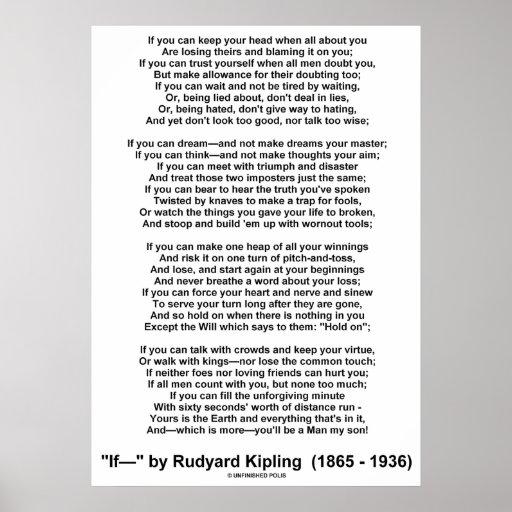 If Poem By Rudyard Kipling (No Kipling Picture) Poster