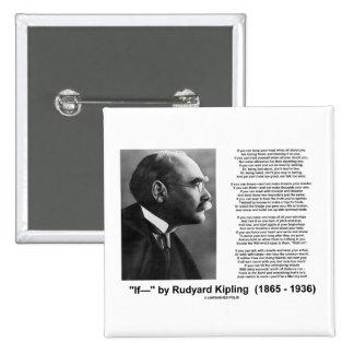 """""""If— """" Poem By Rudyard Kipling Pinback Button"""