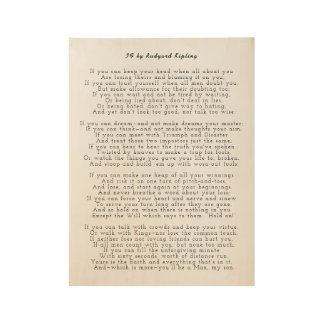 IF poem by Rudyard Kipling Wood Poster