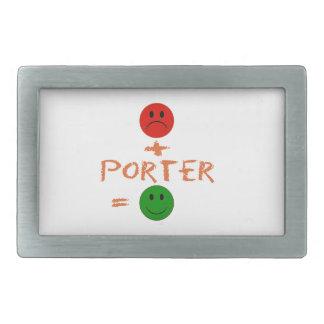 if Porter with me, i am happy Rectangular Belt Buckle