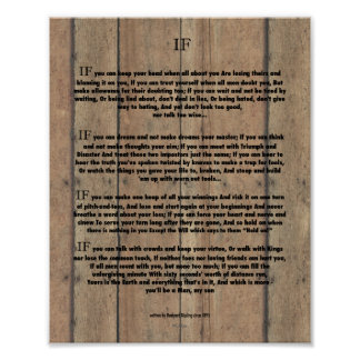 IF Quote by Rudyard Kipling 1895 on Barn Wood Poster