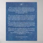 IF Quote by Rudyard Kipling 1895 on Denim Poster