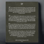 """IF Quote by Rudyard Kipling (jungle book author) Plaque<br><div class=""""desc"""">IF on Black Chalk Board</div>"""