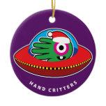 Hand shaped If Santa was an alien Ceramic Ornament