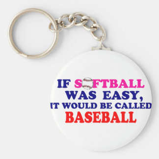 If Softball Was Easy.... Basic Round Button Keychain