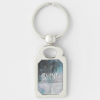 If Stars Shine In Darkness inspirational Silver-Colored Rectangular Metal Keychain