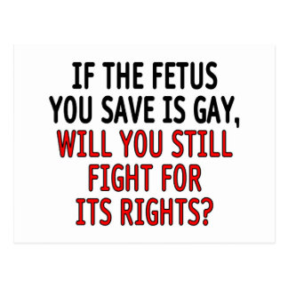 If the fetus you save is gay... postcard