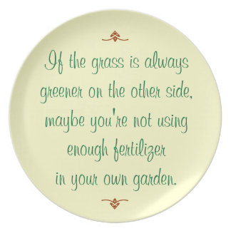 If the grass is always greener on the other side dinner plate