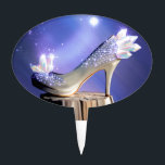 "If The Shoe Fits Cake Topper<br><div class=""desc"">Tried my hand at designing a version of Cinderella&#39;s glass slipper. I chose to feature opalescent crystals because I love shiny rocks. ^_^</div>"