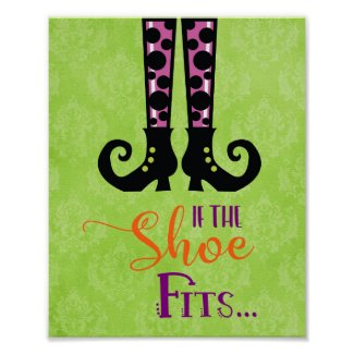 If the Shoe Fits, Cute Witch Shoes Halloween Poster