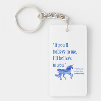 If You Believe in Me Lewis Carroll Quote Keychain