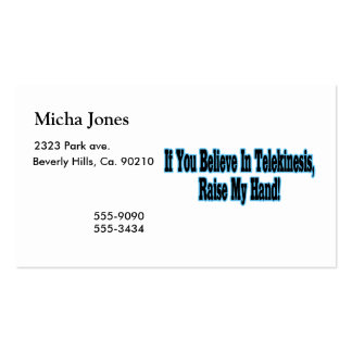 If You Believe in Telekinesis Double-Sided Standard Business Cards (Pack Of 100)