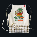 """If You Can&#39;t Take The Heat Zazzle HEART Apron<br><div class=""""desc"""">If you can&#39;t take the heat,  don&#39;t tickle the dragon. Funny saying parody instead of saying &quot;get out of the kitchen&quot;. With a green dragon blowing fire flames. Fun humorous slogan design.</div>"""