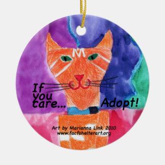 If you care....adopt! ceramic ornament