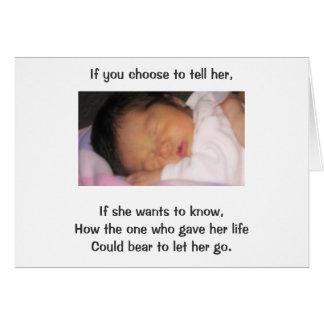 If you choose to tell her, If she wants to know Card