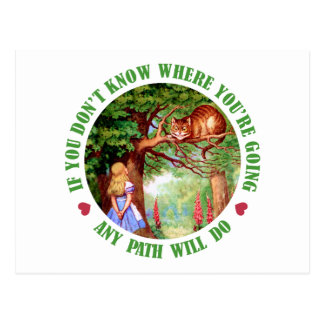 IF YOU DON'T WHERE YOU'RE GOING, ANY PATH WILL DO POST CARD