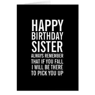 If You Fall Sister Funny Happy Birthday Card at Zazzle