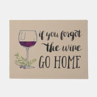 If You Forgot the Wine, Go Home Watercolor Doormat