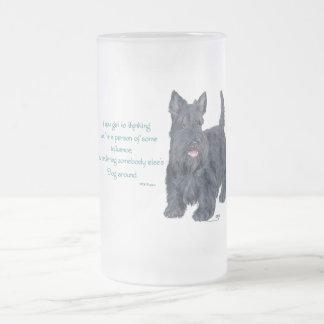 If you get to thinking - Scottish Terrier Wit Frosted Glass Beer Mug