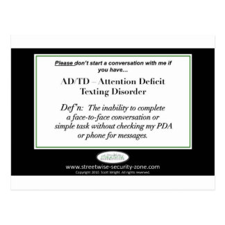 If you have Attention Deficit Texting Disorder... Postcard