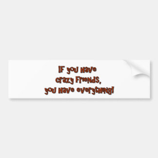 If you have crazy friends, you have everything! bumper sticker